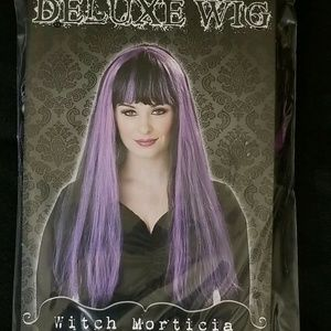 """Witch Wig 24"""" long Black with Purple Streaks"""